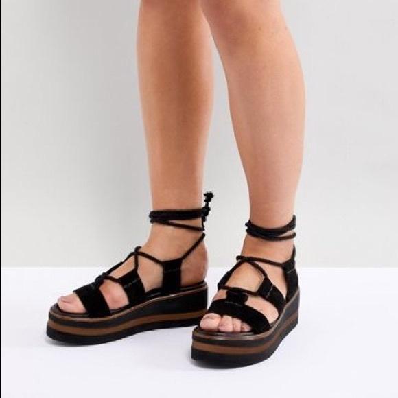 f1fdf2222f7f ASOS Shoes - ASOS Faux Suede Lace Up Flatform Sandals